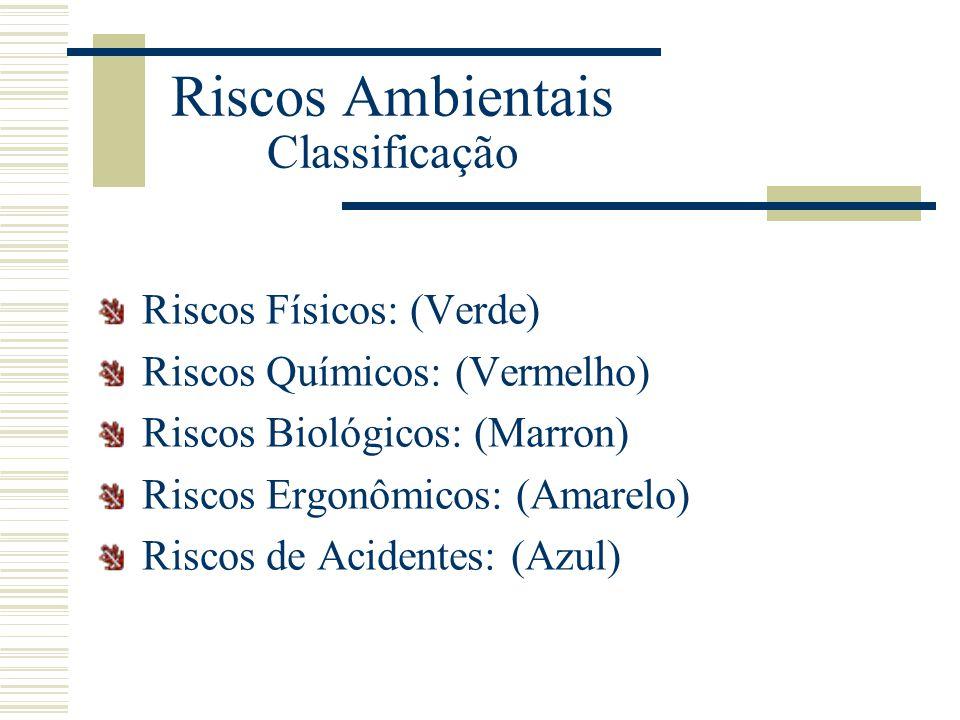Riscos Ambientais Classificação Riscos Físicos: (Verde) Riscos Químicos: (Vermelho) Riscos Biológicos: (Marron) Riscos Ergonômicos: (Amarelo) Riscos d