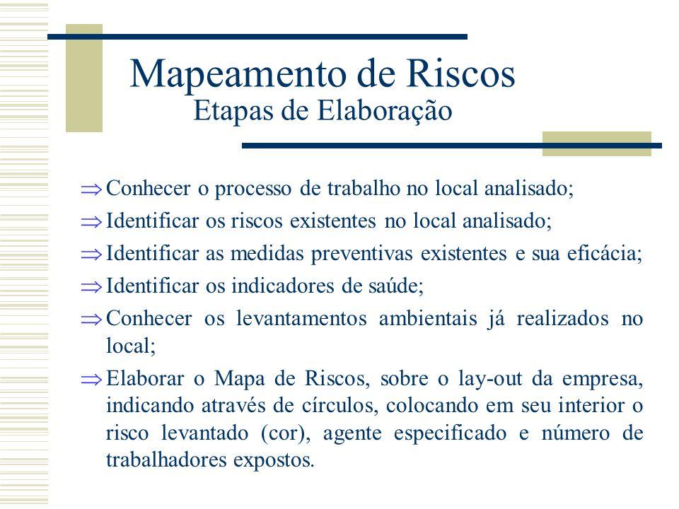 Mapeamento de Riscos Etapas de Elaboração  Conhecer o processo de trabalho no local analisado;  Identificar os riscos existentes no local analisado;