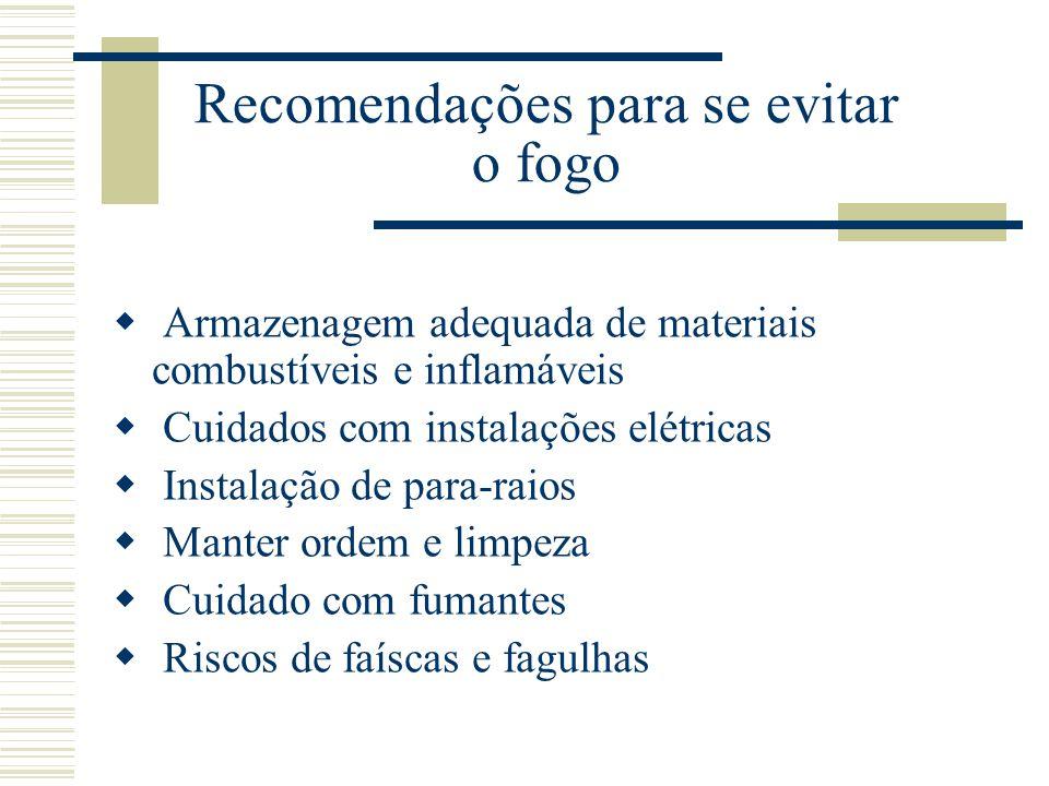 Recomendações para se evitar o fogo  Armazenagem adequada de materiais combustíveis e inflamáveis  Cuidados com instalações elétricas  Instalação d