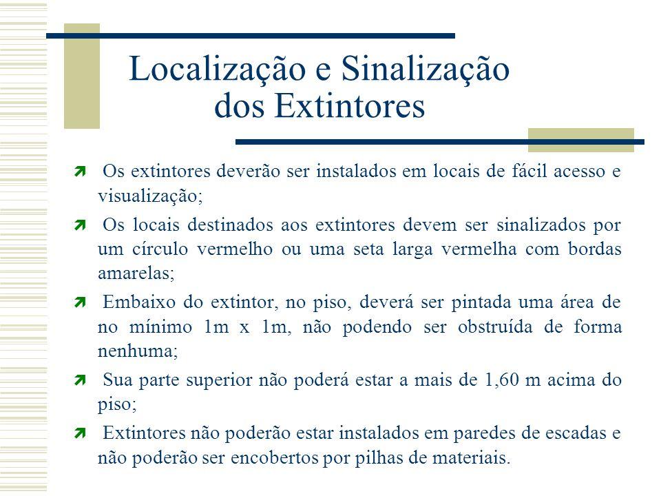 Localização e Sinalização dos Extintores  Os extintores deverão ser instalados em locais de fácil acesso e visualização;  Os locais destinados aos e