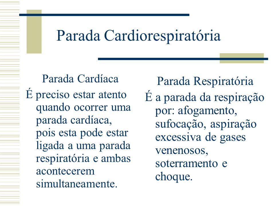 Parada Cardiorespiratória Parada Cardíaca É preciso estar atento quando ocorrer uma parada cardíaca, pois esta pode estar ligada a uma parada respirat