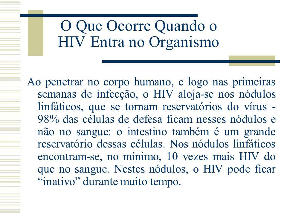 O Que Ocorre Quando o HIV Entra no Organismo Ao penetrar no corpo humano, e logo nas primeiras semanas de infecção, o HIV aloja-se nos nódulos linfáti