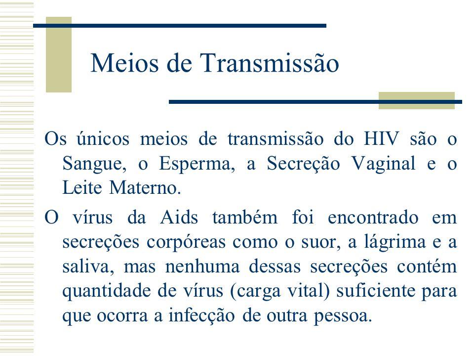 Meios de Transmissão Os únicos meios de transmissão do HIV são o Sangue, o Esperma, a Secreção Vaginal e o Leite Materno. O vírus da Aids também foi e