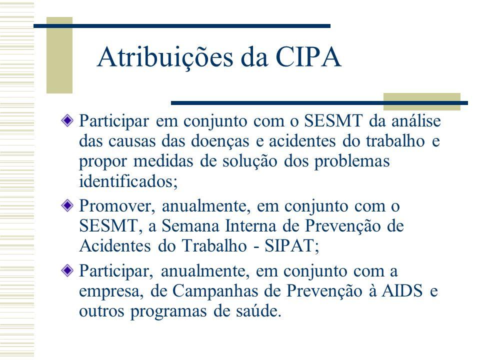 Atribuições da CIPA Participar em conjunto com o SESMT da análise das causas das doenças e acidentes do trabalho e propor medidas de solução dos probl