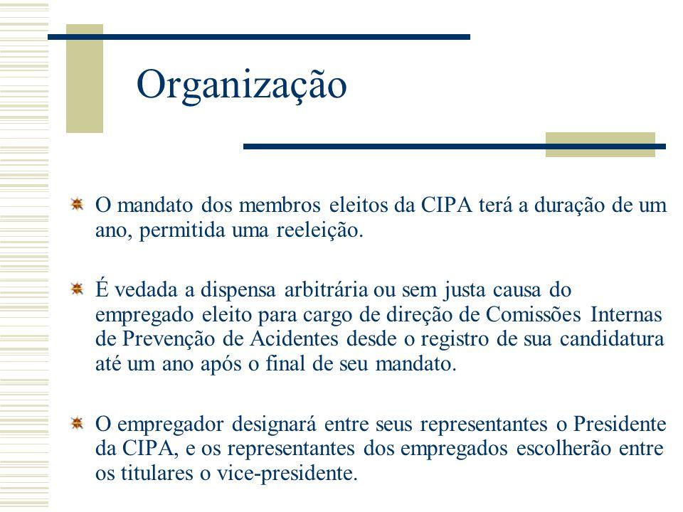 Organização O mandato dos membros eleitos da CIPA terá a duração de um ano, permitida uma reeleição. É vedada a dispensa arbitrária ou sem justa causa