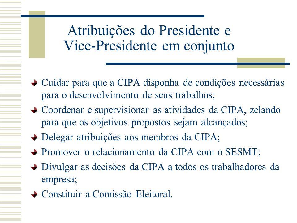 Atribuições do Presidente e Vice-Presidente em conjunto Cuidar para que a CIPA disponha de condições necessárias para o desenvolvimento de seus trabal