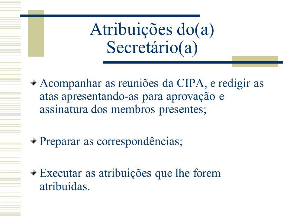 Atribuições do(a) Secretário(a) Acompanhar as reuniões da CIPA, e redigir as atas apresentando-as para aprovação e assinatura dos membros presentes; P