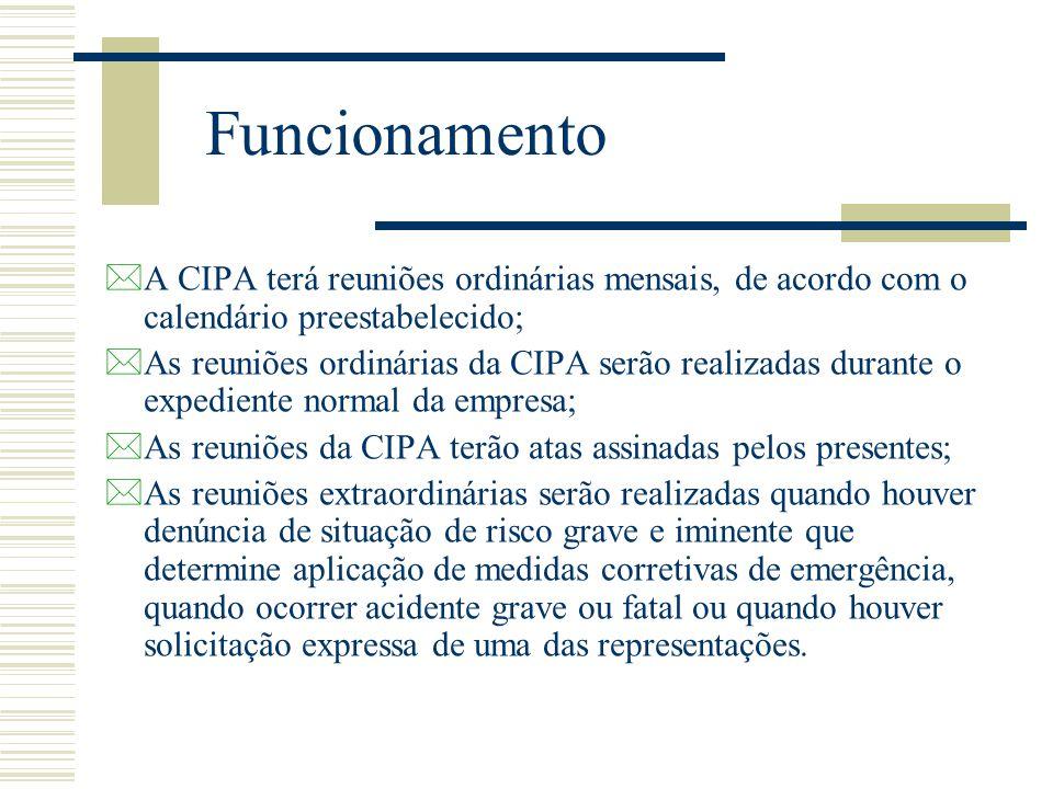 Funcionamento *A CIPA terá reuniões ordinárias mensais, de acordo com o calendário preestabelecido; *As reuniões ordinárias da CIPA serão realizadas d
