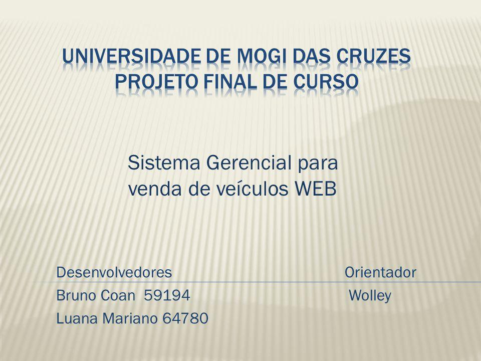 DesenvolvedoresOrientador Bruno Coan 59194 Wolley Luana Mariano 64780 Sistema Gerencial para venda de veículos WEB