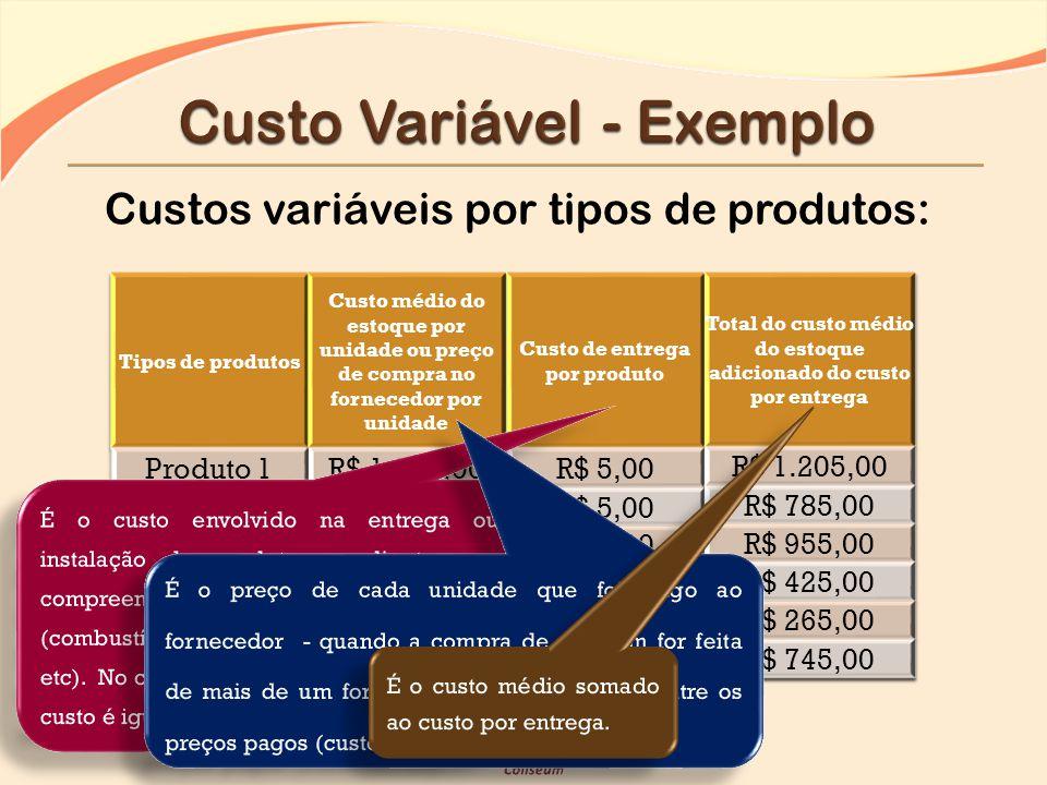 Custos variáveis por tipos de produtos: