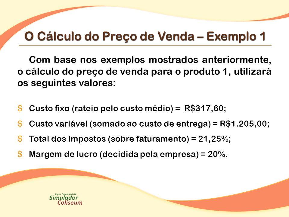 Com base nos exemplos mostrados anteriormente, o cálculo do preço de venda para o produto 1, utilizará os seguintes valores: $Custo fixo (rateio pelo