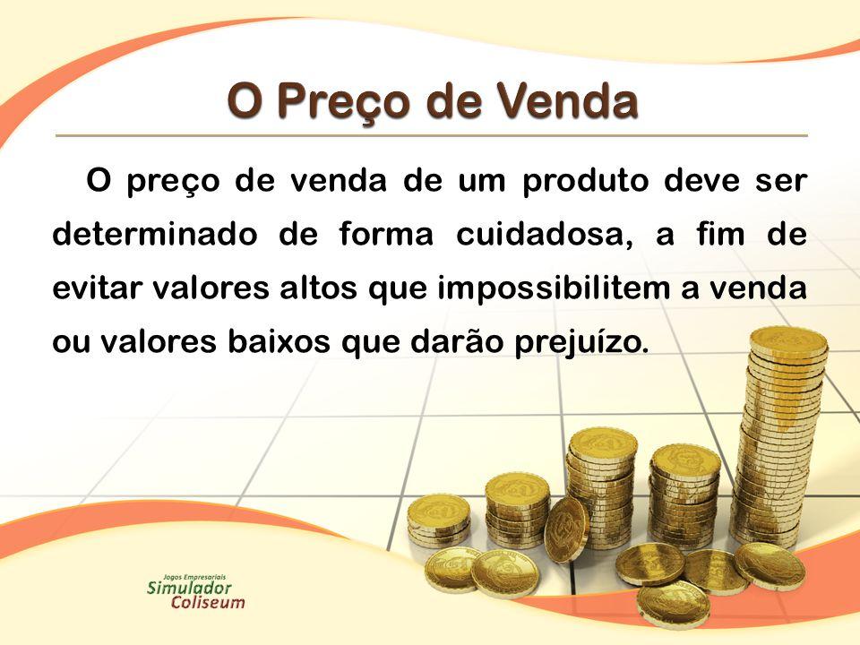 O preço de venda de um produto deve ser determinado de forma cuidadosa, a fim de evitar valores altos que impossibilitem a venda ou valores baixos que