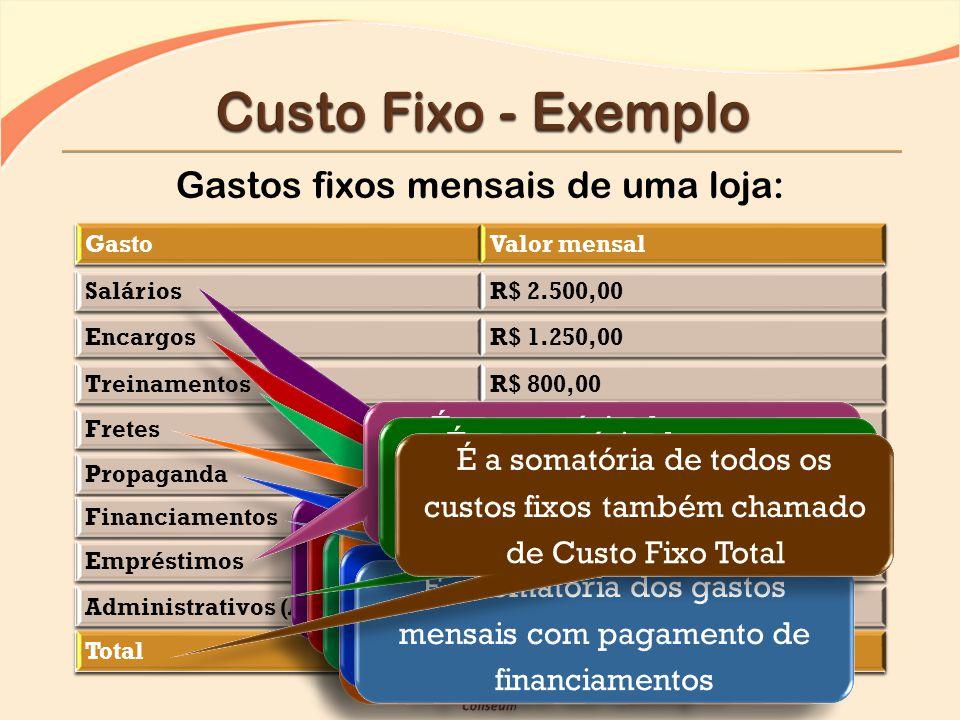 Para ser utilizado na formação do preço de venda dos produtos, o custo fixo deve ser rateado (distribuído) entre todos os tipos de produtos que serão vendidos.
