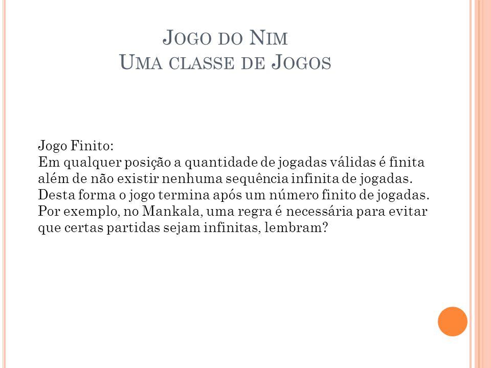 J OGO DO N IM U MA CLASSE DE J OGOS Jogo Finito: Em qualquer posição a quantidade de jogadas válidas é finita além de não existir nenhuma sequência in