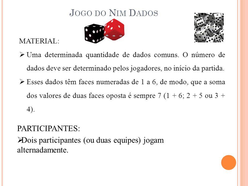 REGRAS DO JOGO: 1.Começa-se por lançar o conjunto de dados sobre uma mesa; 2.Em sua vez, o jogador escolhe um dado e realiza uma jogada válida que pode ser de dois tipos: a.Se a face de cima for maior que 1 vira o dado (uma rotação de 90º) de modo que o valor da face de cima fique menor; b.Se a face superior for igual a 1, a jogada corresponde a retirar o dado do jogo.