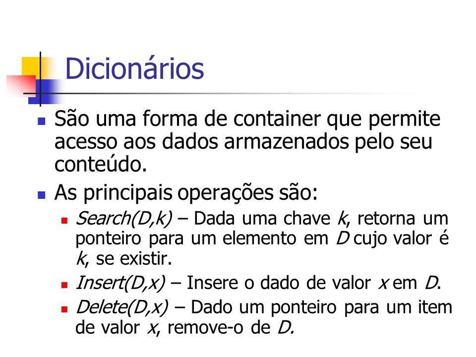 Dicionários São uma forma de container que permite acesso aos dados armazenados pelo seu conteúdo. As principais operações são: Search(D,k) – Dada uma