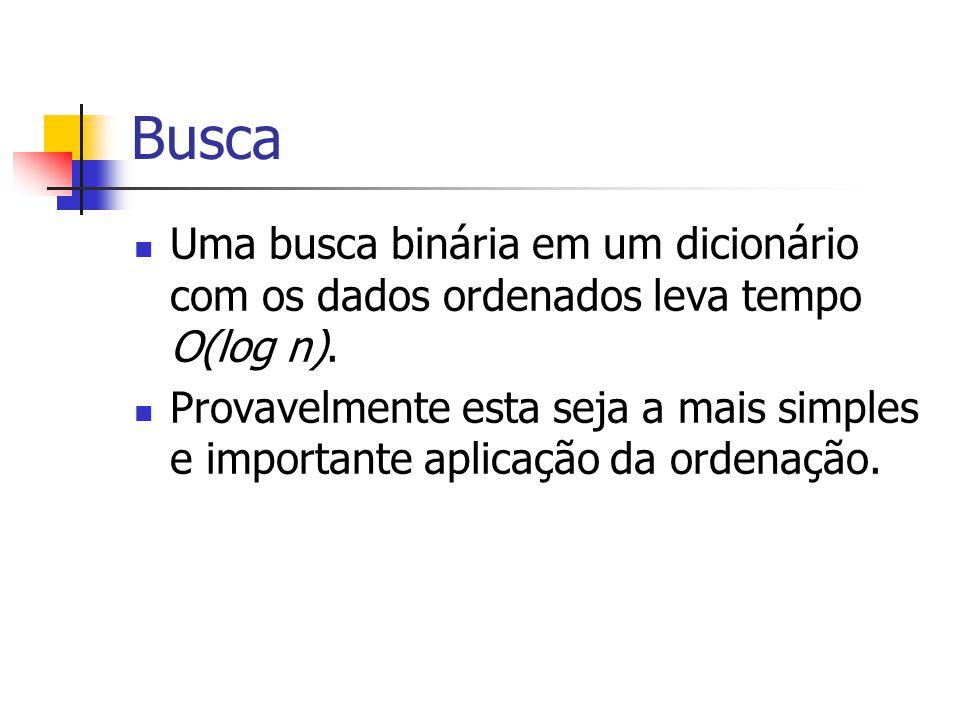 Busca Uma busca binária em um dicionário com os dados ordenados leva tempo O(log n). Provavelmente esta seja a mais simples e importante aplicação da