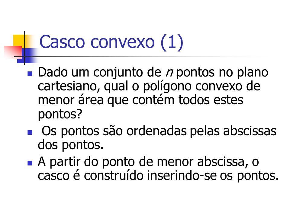 Casco convexo (1) Dado um conjunto de n pontos no plano cartesiano, qual o polígono convexo de menor área que contém todos estes pontos? Os pontos são