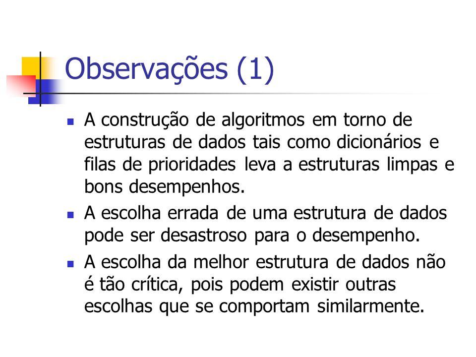 Observações (2) A ordenação é uma das partes principais de um algoritmo.