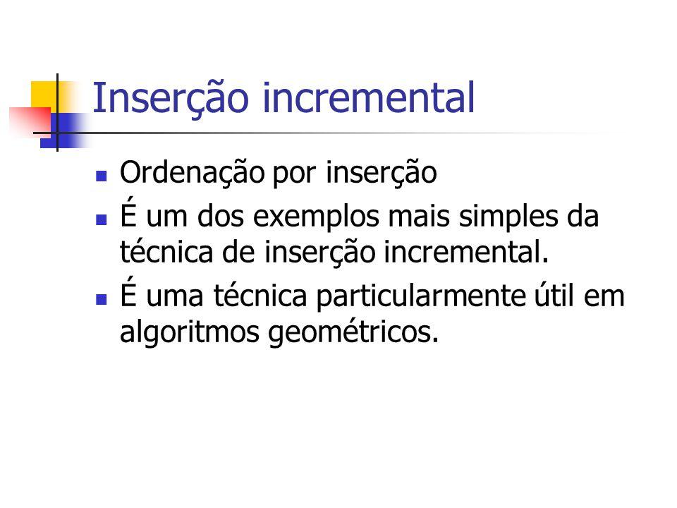 Inserção incremental Ordenação por inserção É um dos exemplos mais simples da técnica de inserção incremental. É uma técnica particularmente útil em a