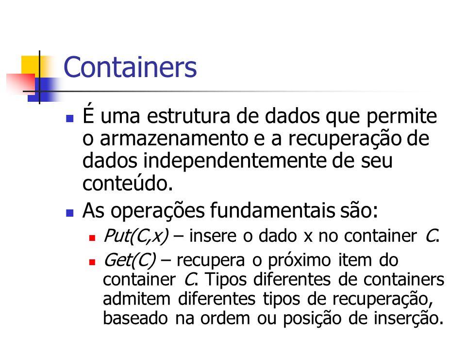 Containers (2) A utilidade de containers é maior quando a quantidade de dados é limitada e a ordem de recuperação é pré-definida ou irrelevante.