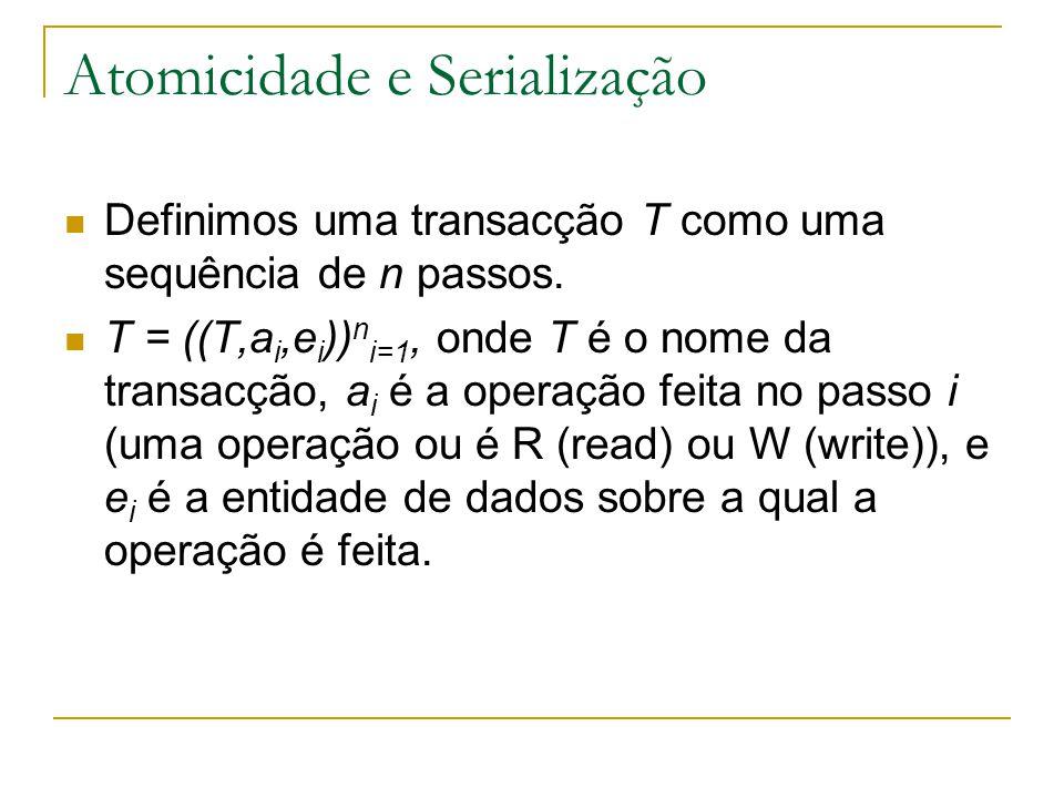 Atomicidade e Serialização Definimos uma transacção T como uma sequência de n passos.