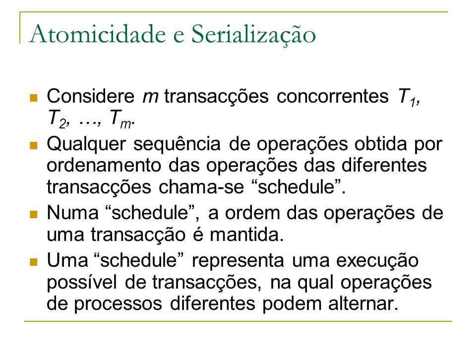 Atomicidade e Serialização Considere m transacções concorrentes T 1, T 2, …, T m. Qualquer sequência de operações obtida por ordenamento das operações
