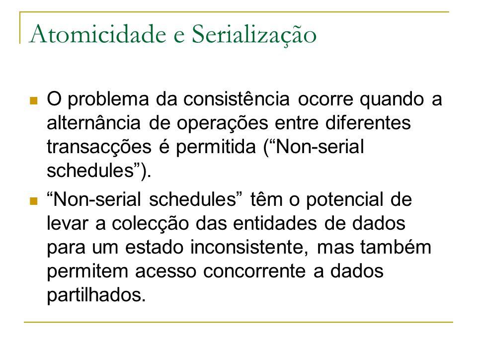 """Atomicidade e Serialização O problema da consistência ocorre quando a alternância de operações entre diferentes transacções é permitida (""""Non-serial s"""