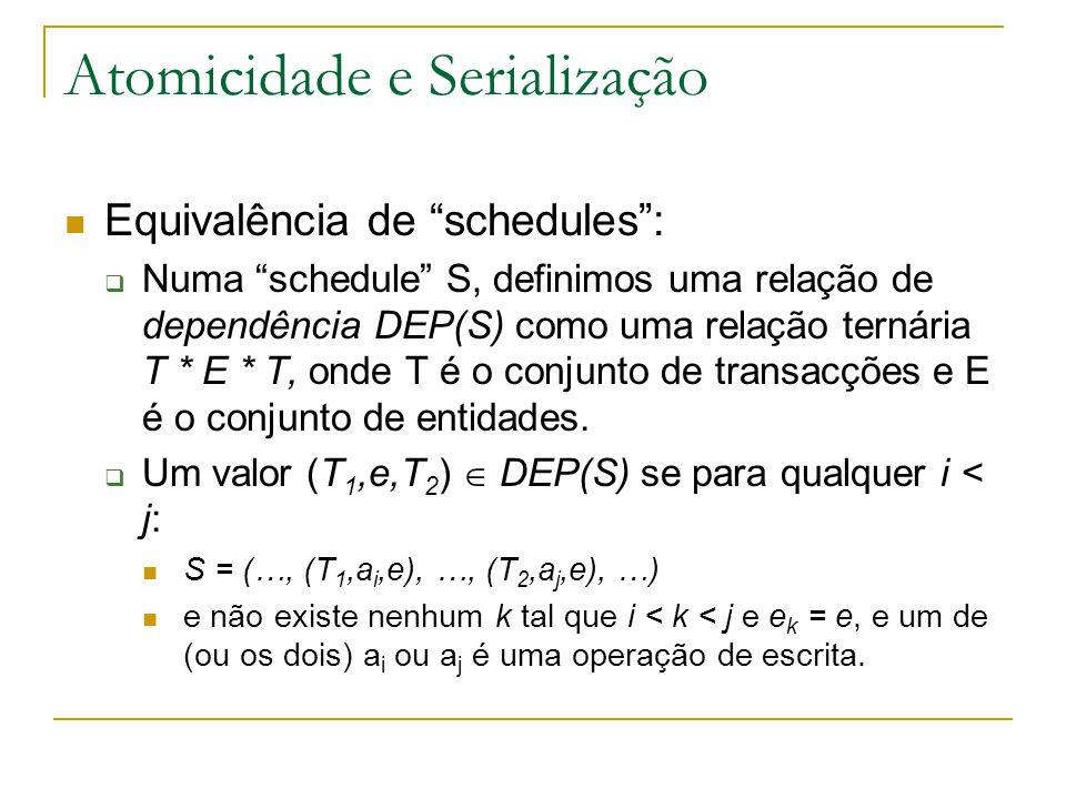 """Atomicidade e Serialização Equivalência de """"schedules"""":  Numa """"schedule"""" S, definimos uma relação de dependência DEP(S) como uma relação ternária T *"""