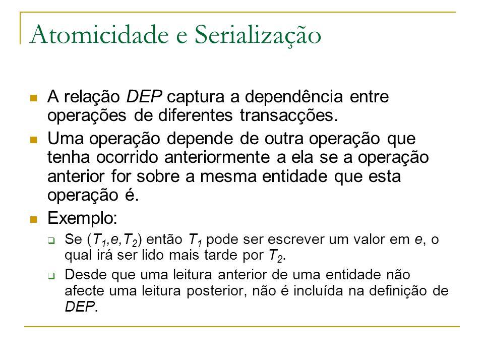 Atomicidade e Serialização A relação DEP captura a dependência entre operações de diferentes transacções.