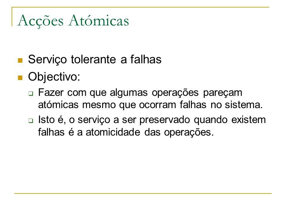 Acções Atómicas Serviço tolerante a falhas Objectivo:  Fazer com que algumas operações pareçam atómicas mesmo que ocorram falhas no sistema.