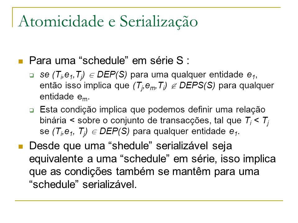 Atomicidade e Serialização Para uma schedule em série S :  se (T i,e 1,T j )  DEP(S) para uma qualquer entidade e 1, então isso implica que (T j,e m,T i )  DEPS(S) para qualquer entidade e m.