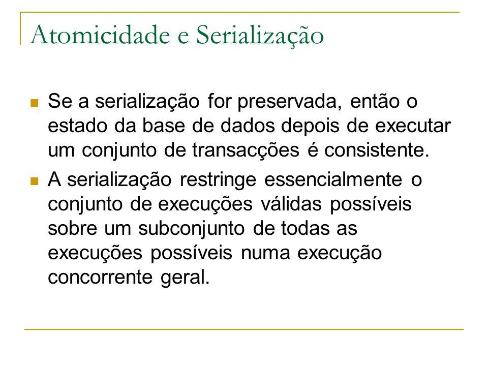 Atomicidade e Serialização Se a serialização for preservada, então o estado da base de dados depois de executar um conjunto de transacções é consisten