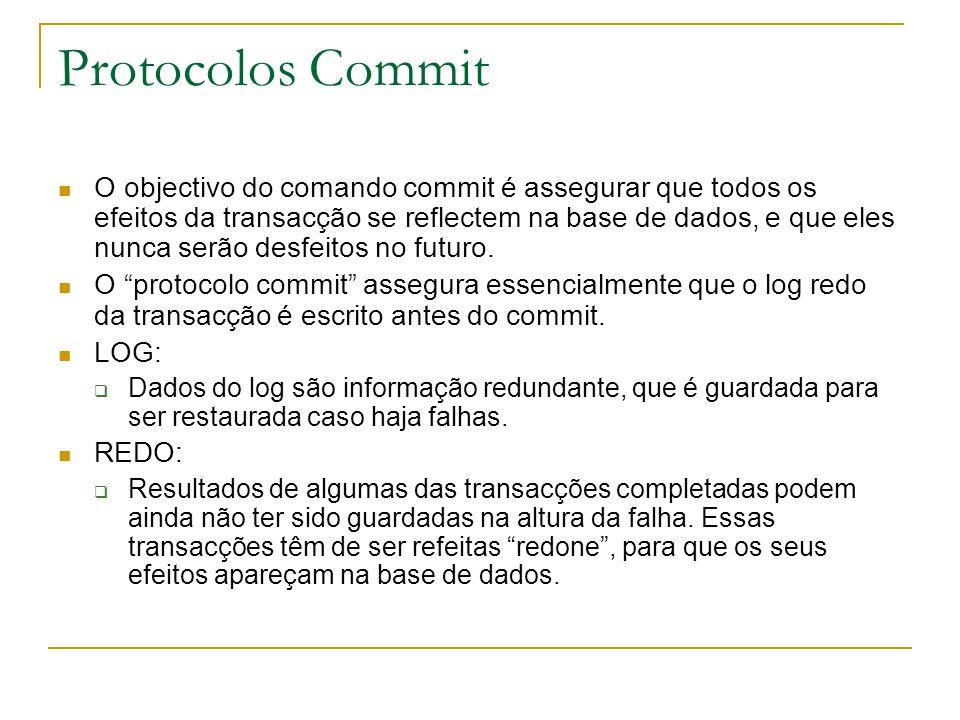 Protocolos Commit O objectivo do comando commit é assegurar que todos os efeitos da transacção se reflectem na base de dados, e que eles nunca serão desfeitos no futuro.