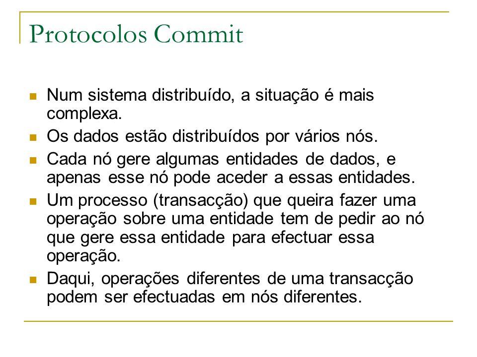 Protocolos Commit Num sistema distribuído, a situação é mais complexa. Os dados estão distribuídos por vários nós. Cada nó gere algumas entidades de d