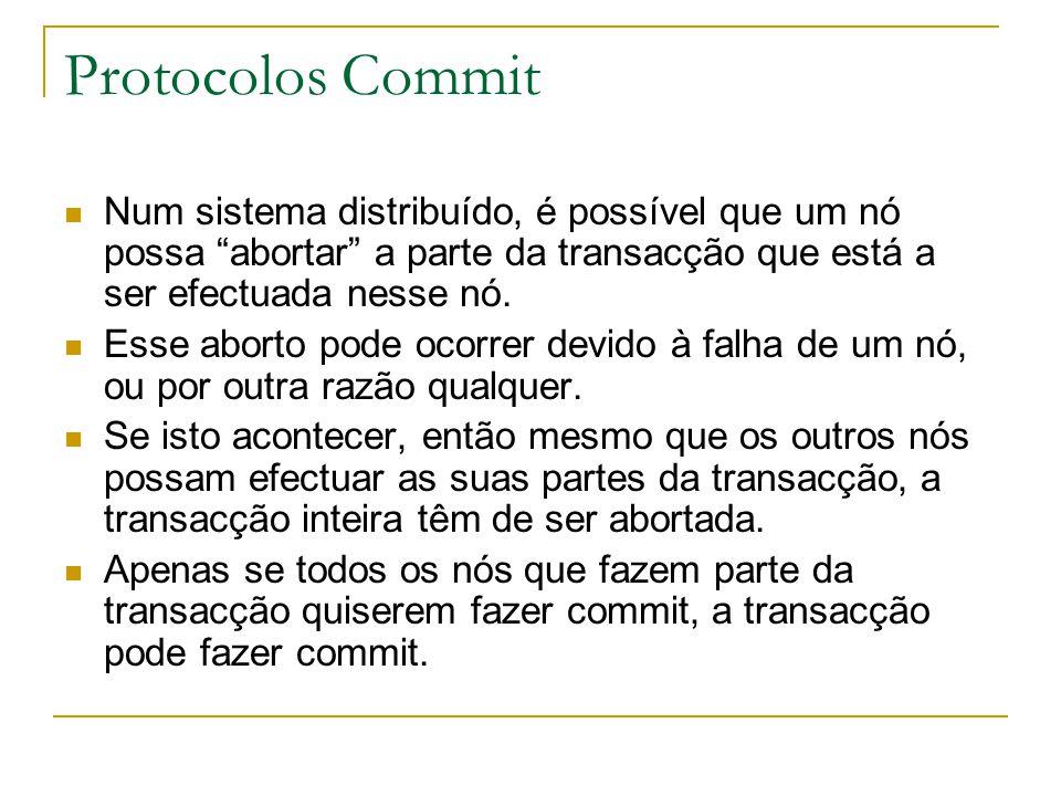 """Protocolos Commit Num sistema distribuído, é possível que um nó possa """"abortar"""" a parte da transacção que está a ser efectuada nesse nó. Esse aborto p"""