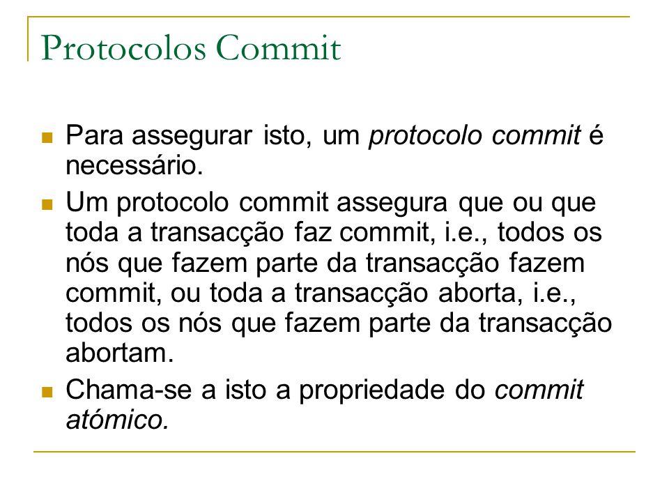 Protocolos Commit Para assegurar isto, um protocolo commit é necessário. Um protocolo commit assegura que ou que toda a transacção faz commit, i.e., t