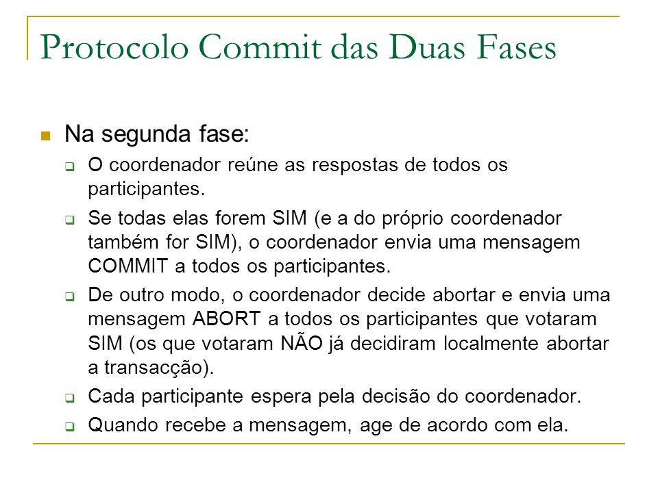 Protocolo Commit das Duas Fases Na segunda fase:  O coordenador reúne as respostas de todos os participantes.  Se todas elas forem SIM (e a do própr