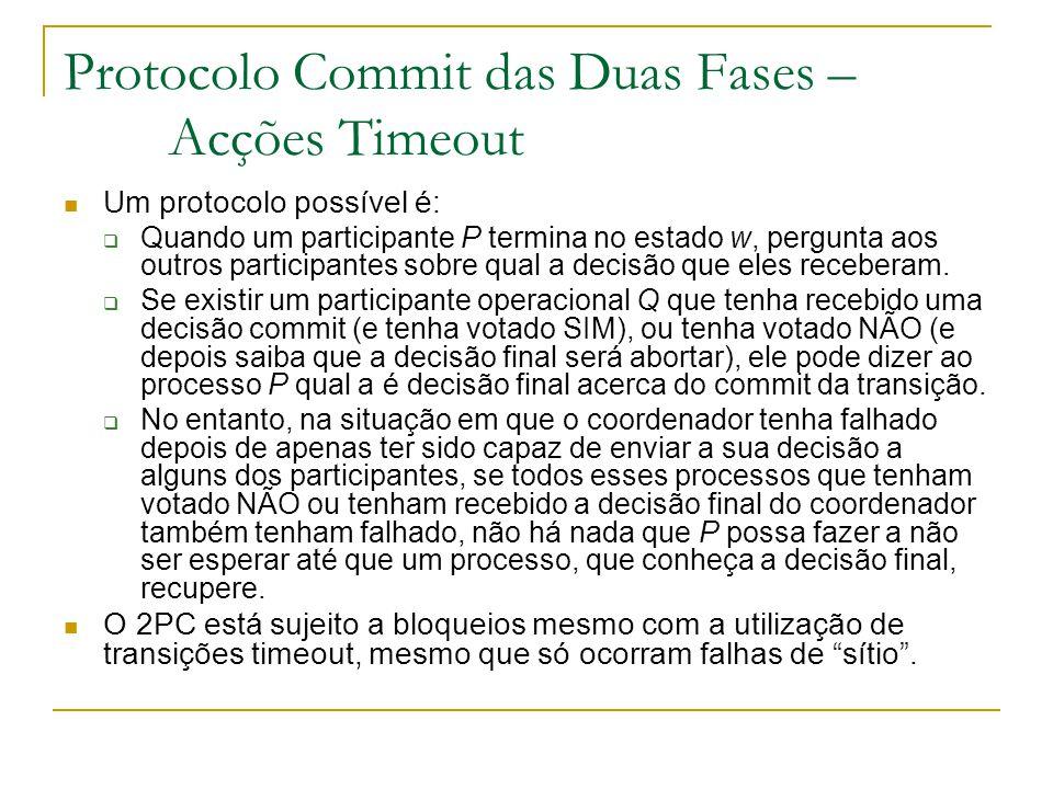Protocolo Commit das Duas Fases – Acções Timeout Um protocolo possível é:  Quando um participante P termina no estado w, pergunta aos outros participantes sobre qual a decisão que eles receberam.