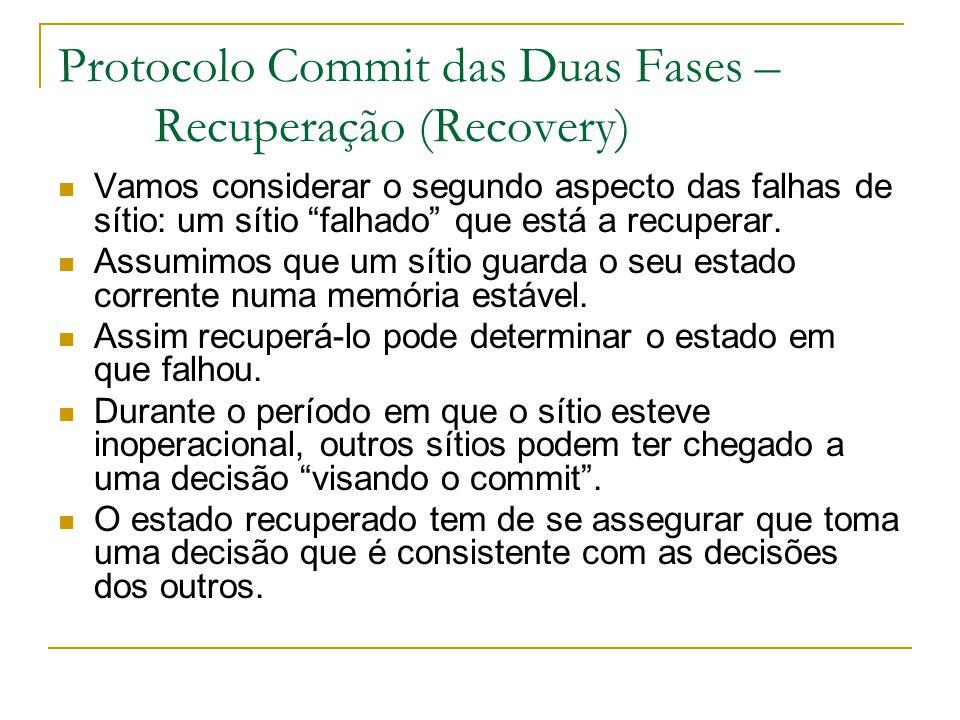"""Protocolo Commit das Duas Fases – Recuperação (Recovery) Vamos considerar o segundo aspecto das falhas de sítio: um sítio """"falhado"""" que está a recuper"""