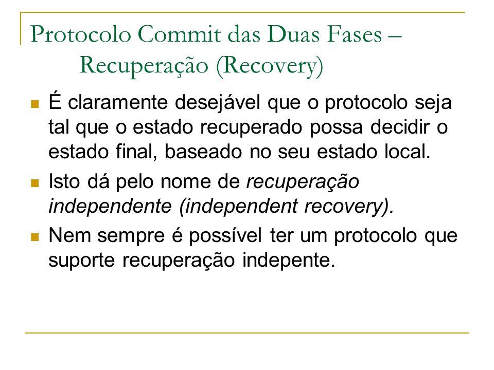 Protocolo Commit das Duas Fases – Recuperação (Recovery) É claramente desejável que o protocolo seja tal que o estado recuperado possa decidir o estado final, baseado no seu estado local.
