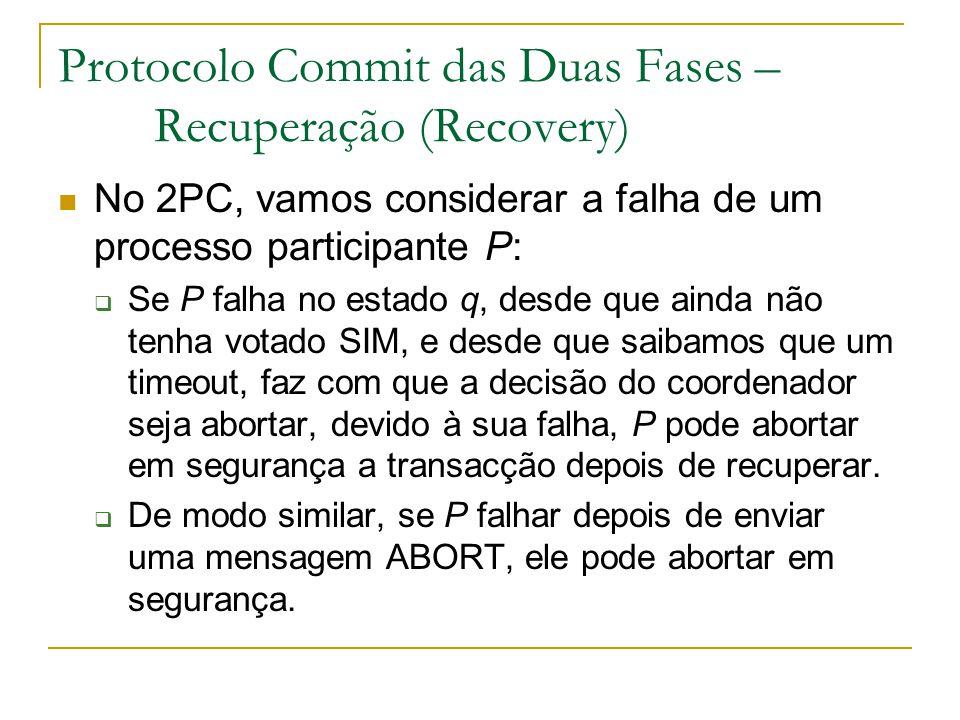 Protocolo Commit das Duas Fases – Recuperação (Recovery) No 2PC, vamos considerar a falha de um processo participante P:  Se P falha no estado q, des