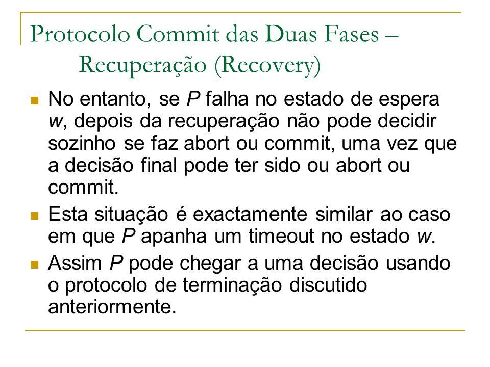 Protocolo Commit das Duas Fases – Recuperação (Recovery) No entanto, se P falha no estado de espera w, depois da recuperação não pode decidir sozinho se faz abort ou commit, uma vez que a decisão final pode ter sido ou abort ou commit.