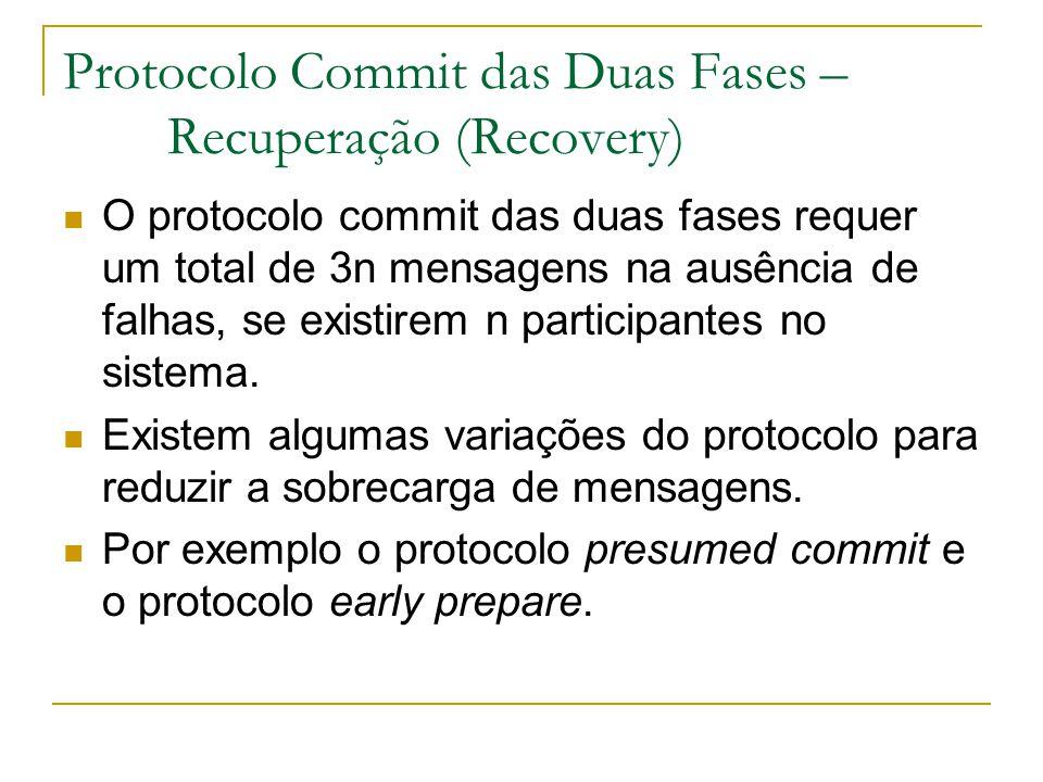 Protocolo Commit das Duas Fases – Recuperação (Recovery) O protocolo commit das duas fases requer um total de 3n mensagens na ausência de falhas, se existirem n participantes no sistema.