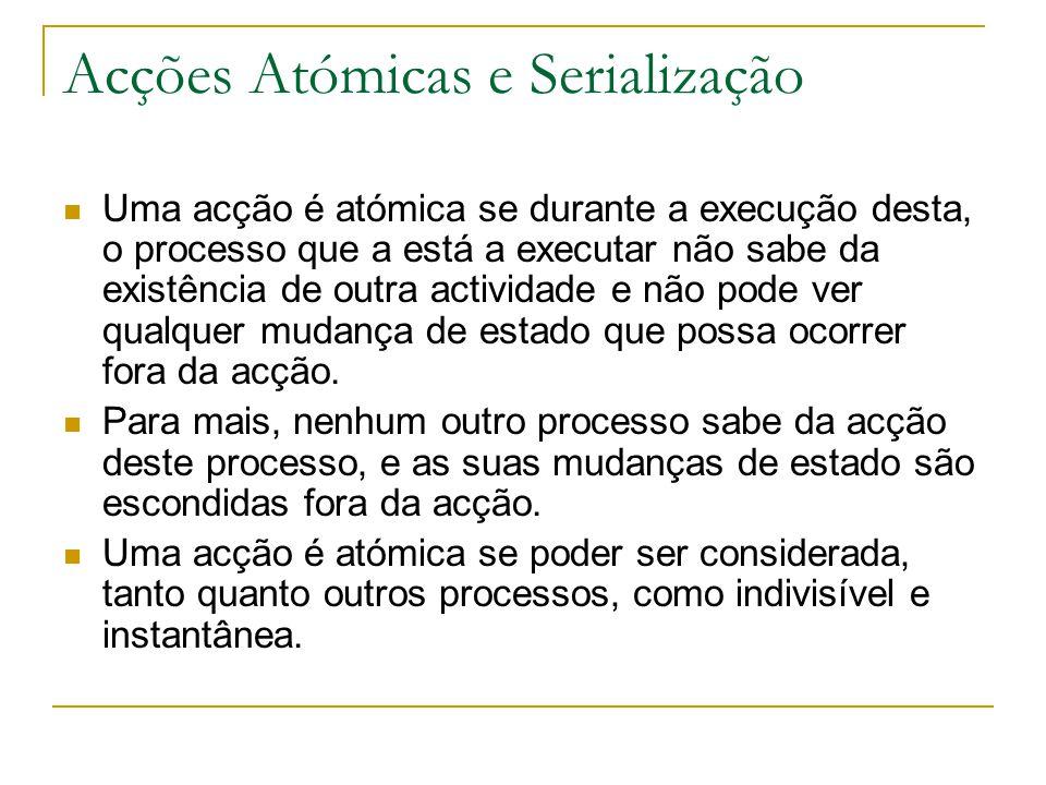 Acções Atómicas e Serialização Uma acção é atómica se durante a execução desta, o processo que a está a executar não sabe da existência de outra actividade e não pode ver qualquer mudança de estado que possa ocorrer fora da acção.