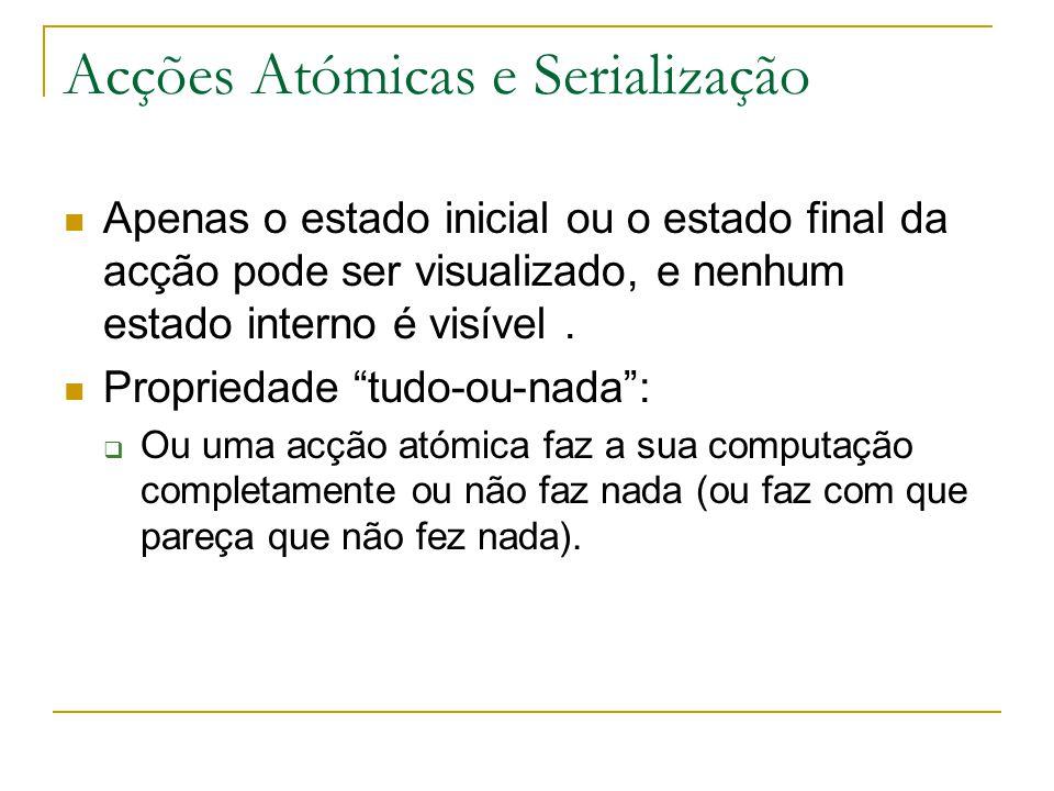 Acções Atómicas e Serialização Apenas o estado inicial ou o estado final da acção pode ser visualizado, e nenhum estado interno é visível.