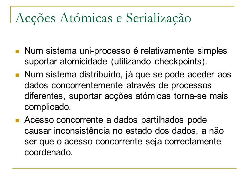 Acções Atómicas e Serialização Num sistema uni-processo é relativamente simples suportar atomicidade (utilizando checkpoints). Num sistema distribuído