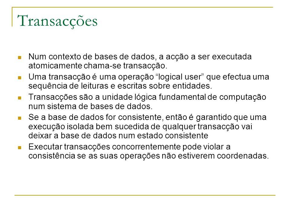 Transacções Num contexto de bases de dados, a acção a ser executada atomicamente chama-se transacção.