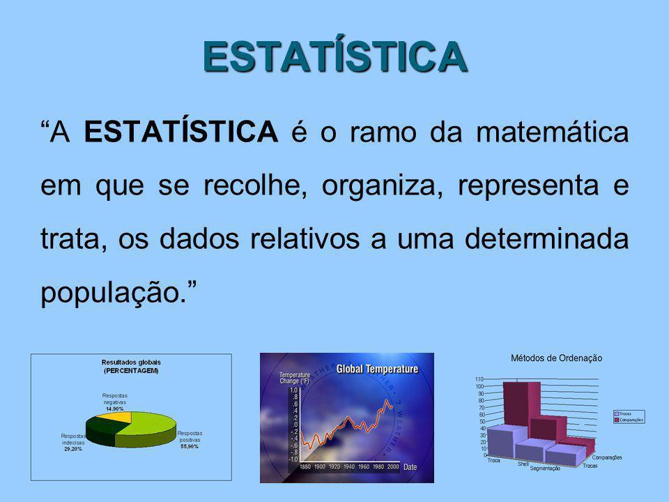 """ESTATÍSTICA """"A ESTATÍSTICA é o ramo da matemática em que se recolhe, organiza, representa e trata, os dados relativos a uma determinada população."""""""