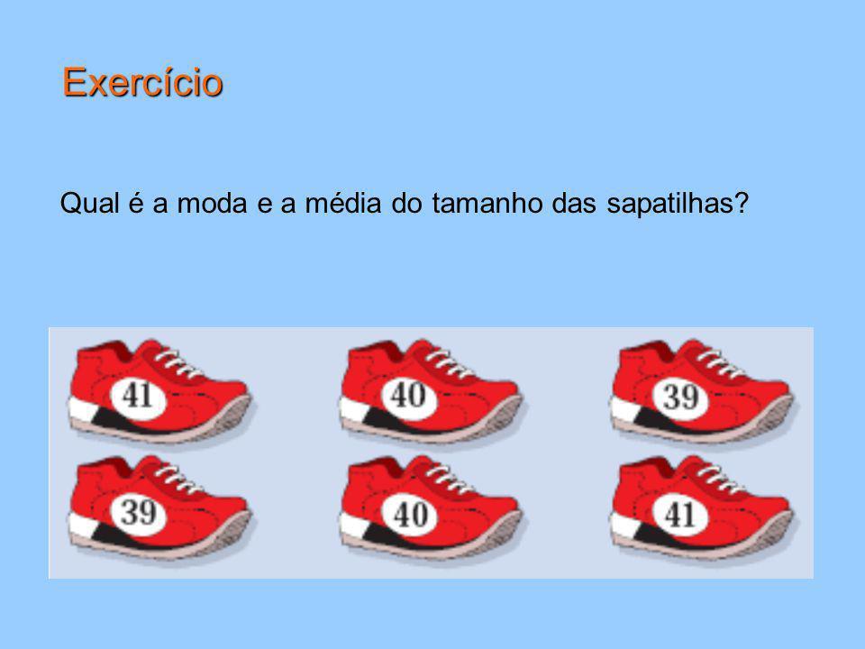 Qual é a moda e a média do tamanho das sapatilhas? Exercício